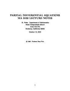 Partial differential equations, lecture notes