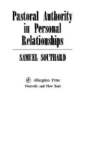 Pastoral authority in personal relationships