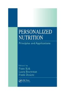 Personalized Nutrition: Principles and Applications