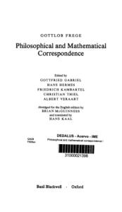 Philosophical and Mathematical Correspondence