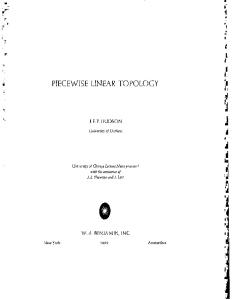 Piecewise Linear Topology