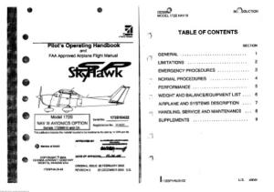 Pilot's Operating Handbook and FAA Approved Airplane Flight Manual. CESSNA Model 172S