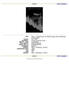 Plato 1: Metaphysics and Epistemology (Oxford Readings in Philosophy) (Vol 1)