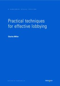 Practical Techniques for Effective Lobbying (Hawksmere Special Briefing)