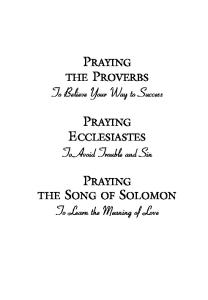 Praying the Proverbs (Praying the Scriptures (Destiny Images))