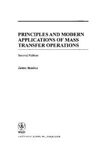 Principles and Modern Applications of Mass Transfer Operations, Second Edition