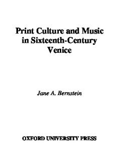 Print Culture and Music in Sixteenth-Century Venice