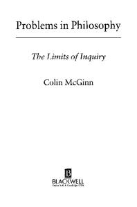 Problems in Philosophy: The Limits of Inquiry