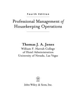 Professional Management of Housekeeping Operations, 4th Edition