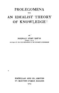 Prolegomena to an idealist theory of knowledge