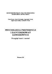 Psychologia preferencji i zainteresowań zawodowych - przegląd teorii i metod