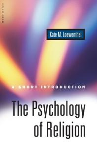 Psychology of Religion: A Short Introduction