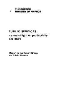 Public services: A searchlight on productivity and users : report to the Expert Group on Public Finance