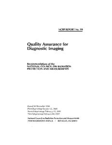 Quality Assurance for Diagnostic Imaging Equipment (Ncrp Report : No. 99)