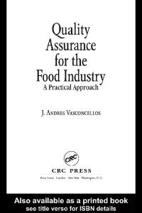 Quality Assurance for the Food Industry: A Practical Approach