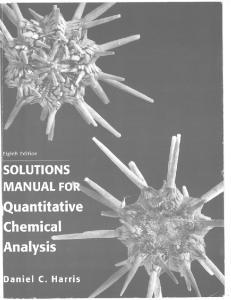Quantitative Chemical Analysis, Solutions Manual