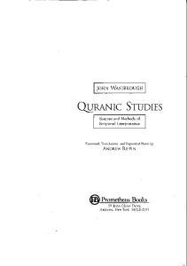 Quranic Studies: Sources and Methods of Scriptural Interpretation