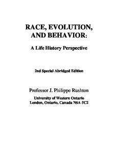 Race, Evolution, and Behavior: A Life History Perspective