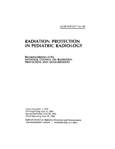 Radiation Protection in Pediatric Radiology# (N C R P Report)