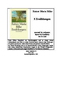 Rainer Maria Rilke 5 Erzählungen von Rilke