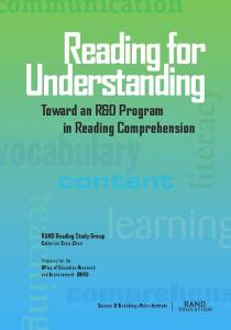 Reading for Understanding : Toward an R & D Program in Reading Comprehension