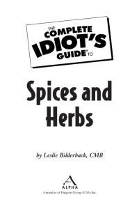 Recipes - The Complete Idiots Guide to Spices & Herbs