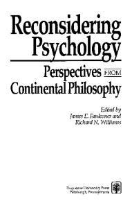 Reconsidering Psychology: Perspectives from Continental Philosophy