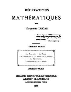 Recreations mathematiques, tome 1