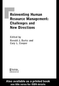 Reinventing Human Resource Management: Challenges and New Directions