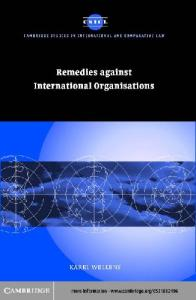 Remedies against int organisations