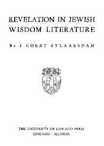 Revelation in Jewish Wisdom Literature