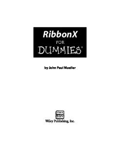 RibbonX For Dummies (For Dummies (Computer Tech))