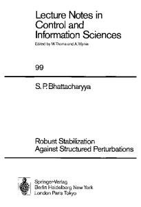 Robust Stabilization Against Structured Perturbations (Lecture Notes in Control and Information Sciences)