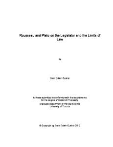 Rousseau and Plato on the Legislator and the Limits of Law