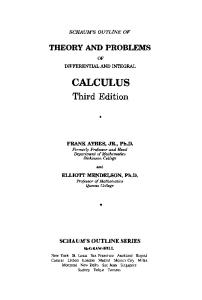 Schaum's Outline of Theory and Problems of Differential and Integral Calculus (Schaums Outline Series)