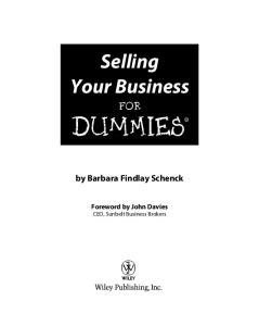 Selling Your Business For Dummies (For Dummies (Business & Personal Finance))