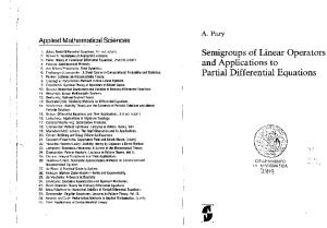 Semigroups of Linear Operators and Applications to Partial Differential Equations (Applied Mathematical Sciences)