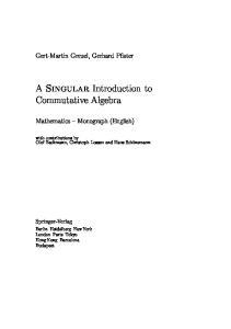 SINGULAR Introduction to Commutative Algebra