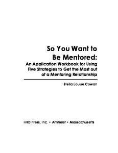So You Want to be Mentored