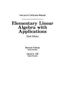 Solution manual for Elementary Linear Algebra with Applications (9th Edition)
