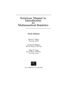 Solution Manual to Introduction to Mathematical Statistics 6th Edition
