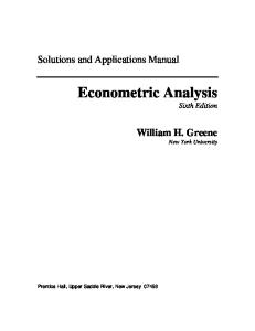 Solutions Manual Econometric Analysis