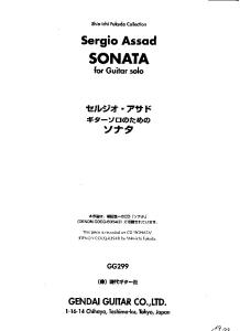 Sonata for Guitar solo (Guitar Scores)
