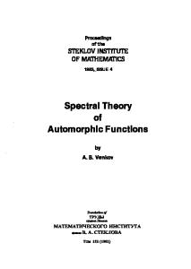 Spectral Theory of Automorphic Functions (Proceedings of the Steklov Institute of Mathematics)