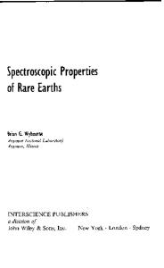 Spectroscopic Properties of Rare Earths