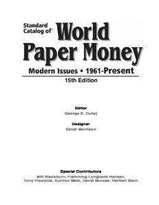 Standard Catalog of World Paper Money: Modern Issues, 1961 - Present