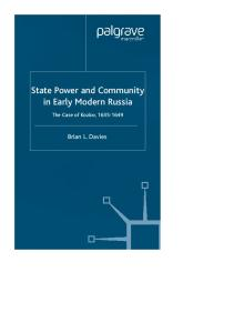 State Power and Community in Early Modern Russia: The Case of Kozlov, 1635-1649