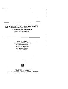 Statistical ecology: a primer on methods and computing, Volume 1