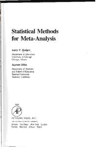 Statistical Methods for Meta-Analysis