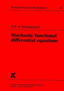 Stochastic Functional Differential Equations (Chapman & Hall CRC Research Notes in Mathematics Series)